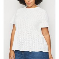 Curves White Broderie Peplum Top New Look