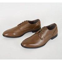 Dark Brown Leather-Look Formal Shoes New Look