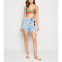 Blue Tropical Floral Neon Bikini Top New Look