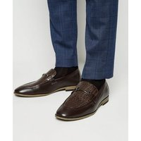Dark Brown Faux Croc Loafers New Look