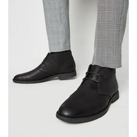 Mens Black Leather-Look Desert Boots New Look
