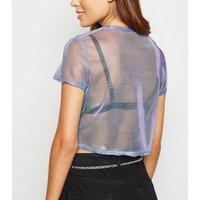 Purple 2 Tone Mesh Boxy Crop T-Shirt New Look
