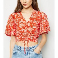 Red Tropical Flutter Sleeve Ruched Front Top New Look