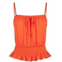 Orange Tie Front Shirred Waist Cami New Look