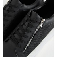Black Textured Leather-Look Zip Side Trainers New Look