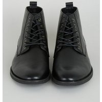 Black Leather-Look Lace Up Boots New Look