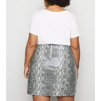 Curves Light Grey Faux Snake Mini Skirt New Look