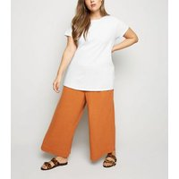 Curves White Organic Cotton Oversized T-Shirt New Look