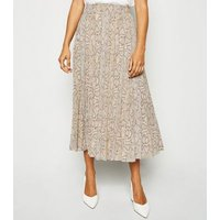 Petite Brown Snake Print Pleated Midi Skirt New Look