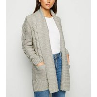 Petite Pale Grey Cable Knit Cardigan New Look