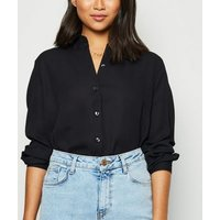 Petite Black Chiffon Shirt New Look