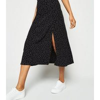 Petite Black Spot Side Split Midi Skirt New Look