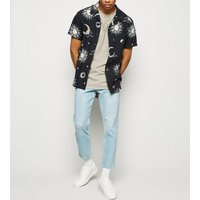 Stone Washed Sun Embroidered T-Shirt New Look