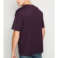 Dark Purple Oversized Heavy Cotton T-Shirt New Look