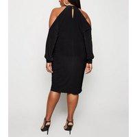 Curves Black Twist Cold Shoulder Dress New Look