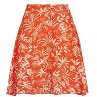 Petite Red Floral Button Up Mini Skirt New Look