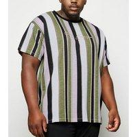 Mens Plus Size Pink Stripe San Francisco Slogan T-Shirt New Look