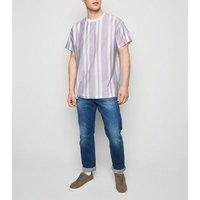 Lilac Vertical Stripe Short Sleeve T-Shirt New Look
