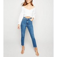 Urban Bliss White Shirred Crop Top New Look
