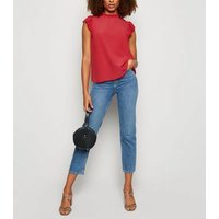 Red Frill Trim Sleeveless Blouse New Look