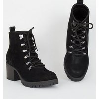 Wide Fit Black Lace Up Chunky Hiker Boots New Look