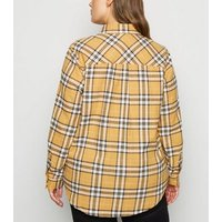Curves Yellow Oversized Check Shirt New Look