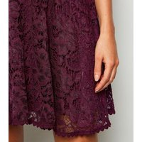 Burgundy Lace Bustier Skater Dress New Look