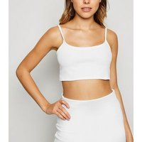 White Ribbed Strappy Crop Top New Look