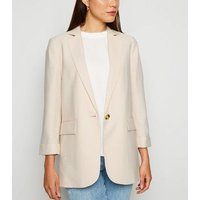 Stone Long Sleeve Button Up Blazer New Look