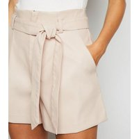 Stone Leather-Look High Waist Shorts New Look