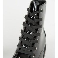 Wide Fit Black Patent Lace Up Hiker Boots New Look