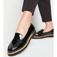 Black Patent Chunky Cleated Sole Loafers New Look Vegan