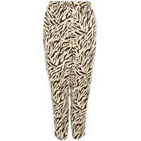 Curves Cream Zebra Print Woven Joggers New Look