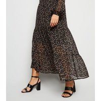 Curves Black Ditsy Floral Maxi Shirt Dress New Look