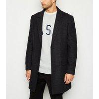 Mens Black Check Coat New Look