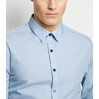 Image of Pale Blue Long Sleeve Button Up Poplin Shirt New Look