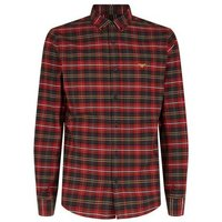 Mens Red Tartan Moth Embroidered Shirt New Look