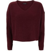 Burgundy Ribbed V Neck Crop Jumper New Look
