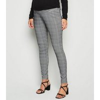 Maternity Light Grey Check Slim Trousers New Look