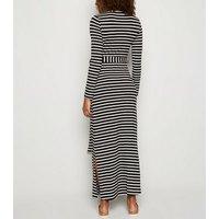 Maternity Black Stripe Long Sleeve Maxi Dress New Look