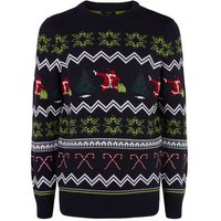 Navy Dancing Santa Christmas Jumper New Look