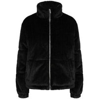 Black Ribbed Faux Fur Puffer Jacket New Look