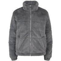 Dark Grey Ribbed Faux Fur Puffer Jacket New Look
