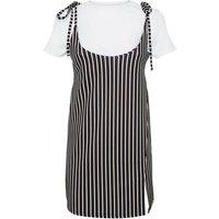 Cameo Rose Black Stripe 2 in 1 Dress New Look