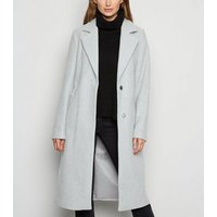 Pale Grey Longline Belted Coat New Look