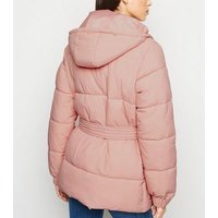 Pale Pink Belted Puffer Jacket New Look