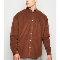 Rust Corduroy Moth Embroidered Oversized Shirt New Look