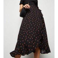 Black Spot Ruffle Wrap Midi Skirt New Look