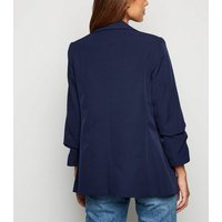 Navy Crepe Ruched Sleeve Blazer New Look