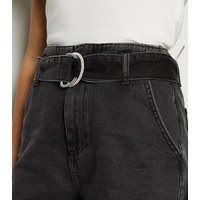 Black D Ring Belted Denim Shorts New Look